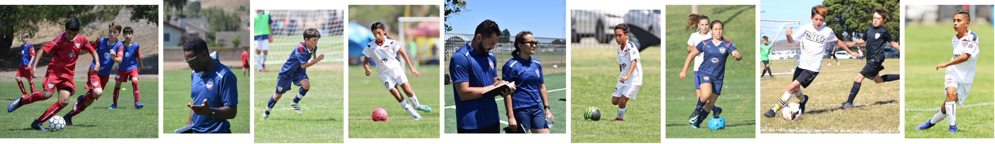 Collage of AYSO players and coaches