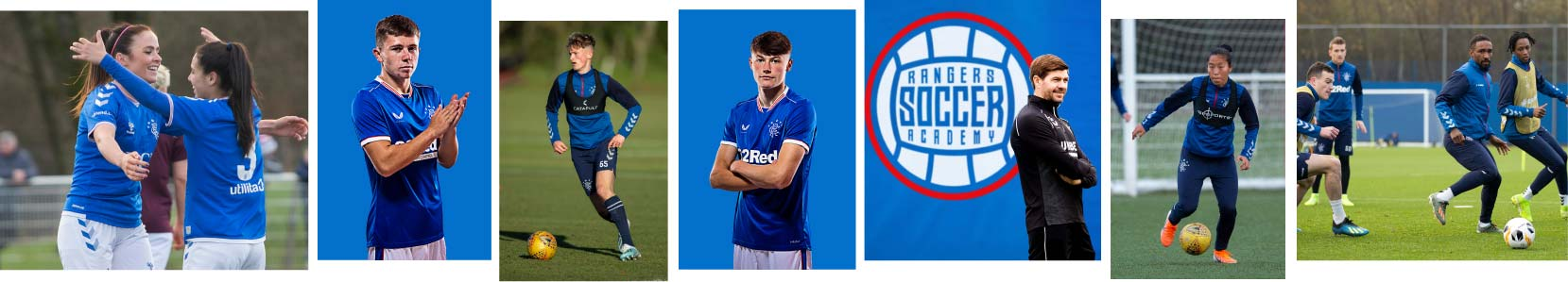 Collage of Rangers players and coaches